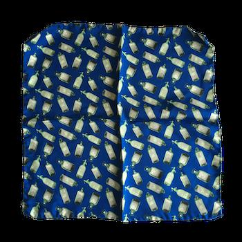 Bottles Silk Pocket Square - Mid Blue/Green/Grey