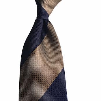 Blockstripe Rep Silk Tie - Untipped - Navy Blue/Beige