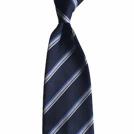 Regimental Rep Silk Tie - Untipped - Navy Blue/Light Blue/White