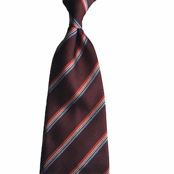 Regimental Rep Silk Tie - Untipped - Burgundy/Light Blue/White/Red