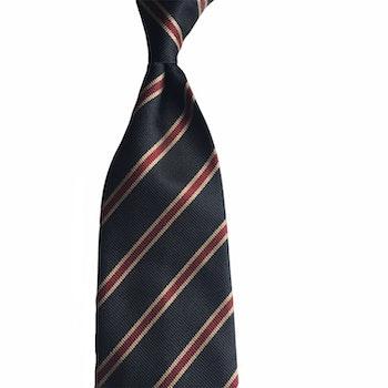 Regimental Rep Silk Tie - Untipped - Navy Blue/Burgundy/Beige