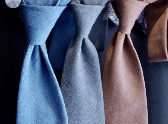 Solid Cotton/Silk Tie - Orange