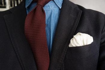 Solid Silk Grenadine Grossa Tie - Untipped - Bourgogne