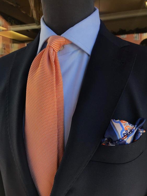 Solid Silk Grenadine Fina Tie - Untipped - Orange/White