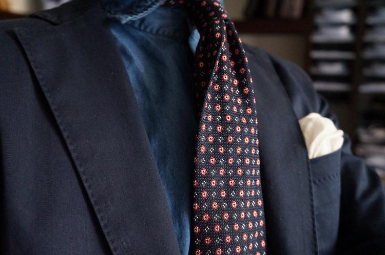 Floral Silk Grenadine Tie - Untipped - Navy Blue/Red/White