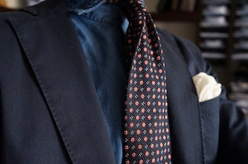 Floral Silk Grenadine Tie - Untipped - Navy Blue/Red/White