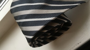 Regimental Silk Grenadine Tie - Untipped - Dark Grey/Light Grey