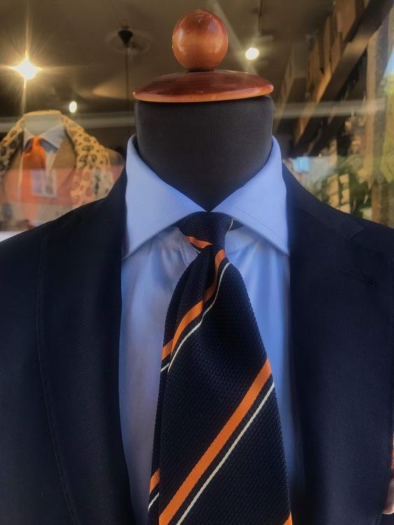 Regimental Silk Grenadine Tie - Untipped - Navy Blue/Orange