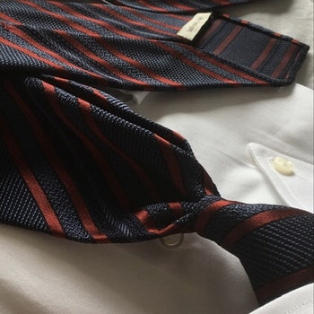 Regimental Silk Grenadine Tie - Untipped - Navy Blue/Red