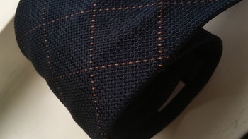 Check Silk Grenadine Tie - Untipped - Navy/Rust