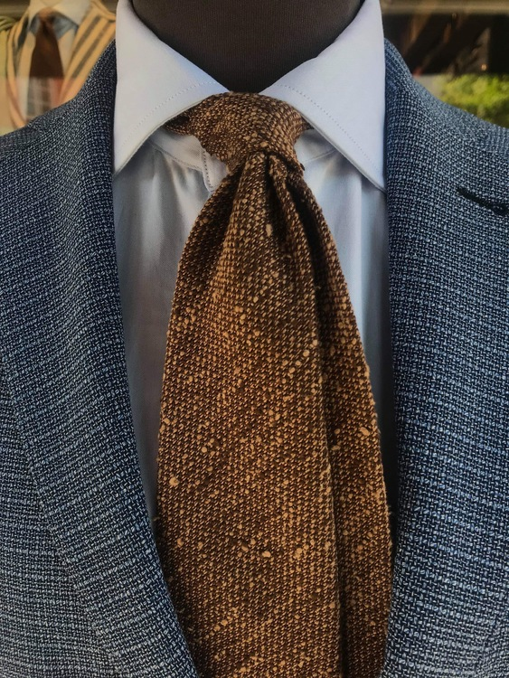 Solid Shantung Grenadine Tie - Untipped - Brown/Beige
