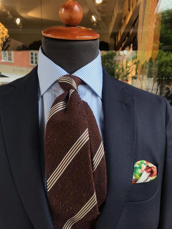 Regimental Shantung Grenadine Tie - Untipped - Rust/White