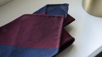 Blockstripe Silk Grenadine Tie - Untipped - Burgundy/Navy Blue