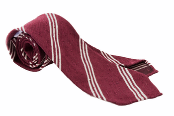 Regimental Shantung Tie - Untipped - Burgundy/White