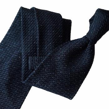 Semi Solid Jacquard Grenadine Tie - Untipped - Navy Blue
