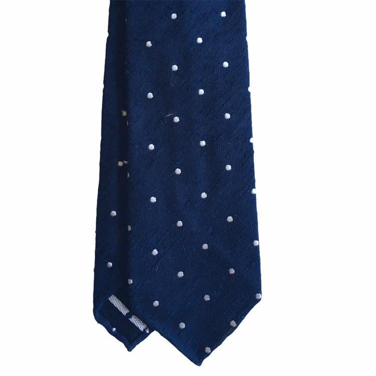 Polka Dot Shantung Tie - Untipped - Navy Blue/White
