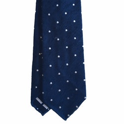 Polka Dot Shantung Tie - Untipped - Navy Blue/White
