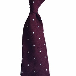 Polka Dot Shantung Tie - Untipped - Burgundy/White
