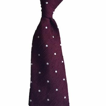Polka Dot Shantung Tie - Untipped - Burgundy/White
