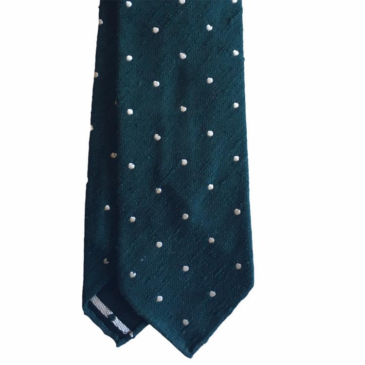 Polka Dot Shantung Tie - Untipped - Dark Green/White