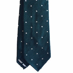 Polka Dot Shantung Tie - Untipped - Dark Green/White