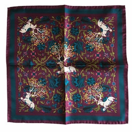 Deer Silk Pocket Square - Lilac