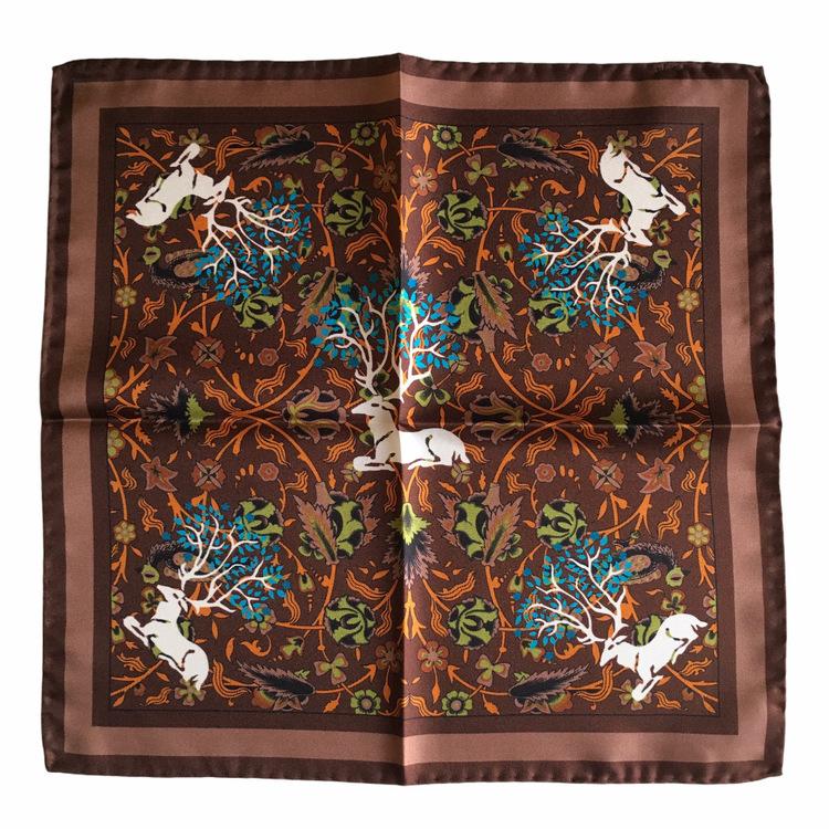 Deer Silk Pocket Square - Brown