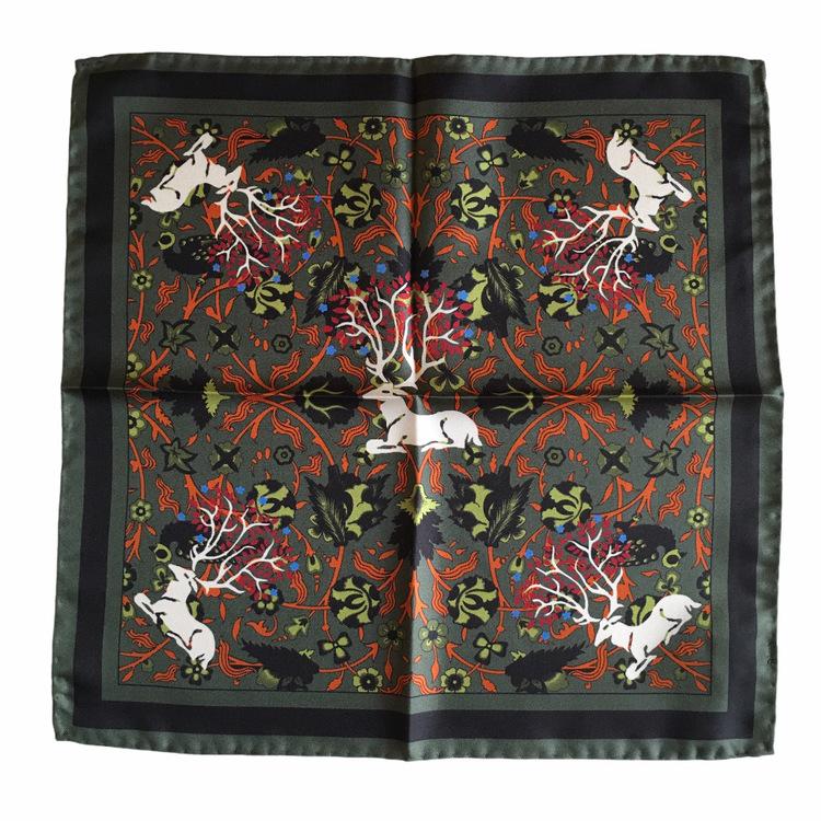 Deer Silk Pocket Square - Green