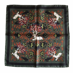 Deer Silk Pocket Square - Green