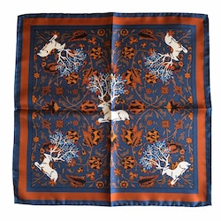 Deer Silk Pocket Square - Navy Blue