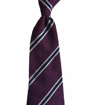 Regimental Shantung Tie - Untipped - Burgundy/Creme/Navy Blue