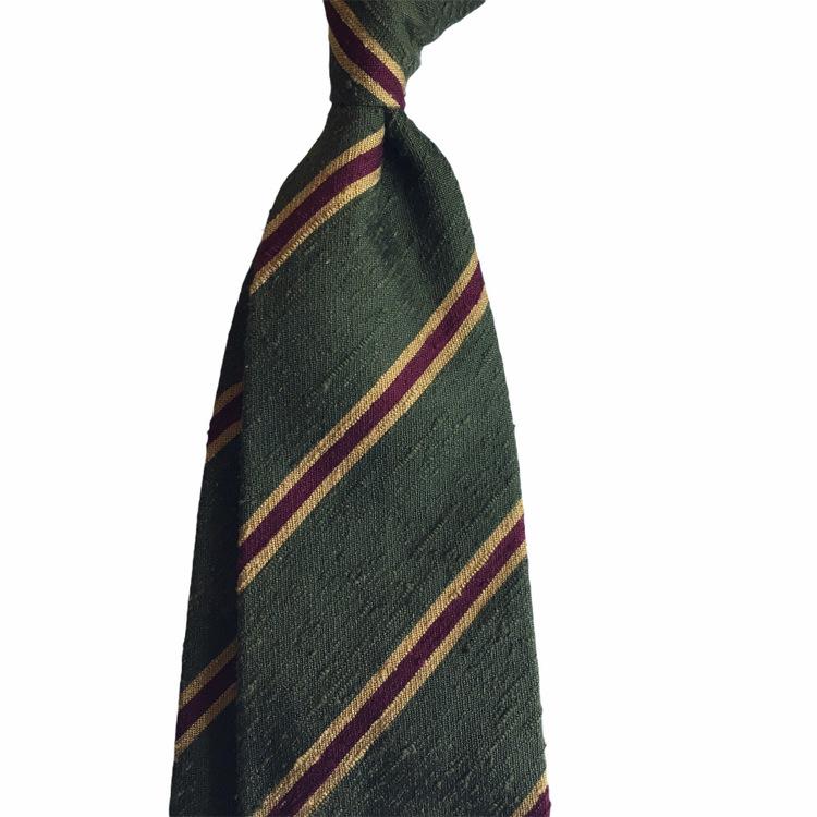 Regimental Shantung Tie - Untipped - Green/Yellow/Burgundy