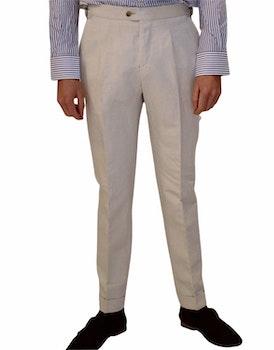 Solid Linen/Cotton Trousers - High Waist - Ecru