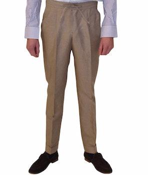 Drawstring Linen/Cotton Trousers - High Waist - Beige