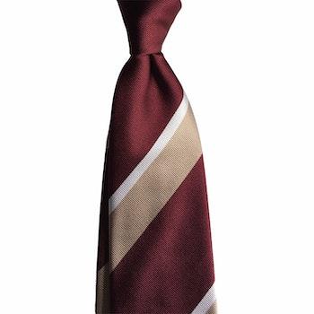 Regimental Silk Tie - Burgundy/Beige/White