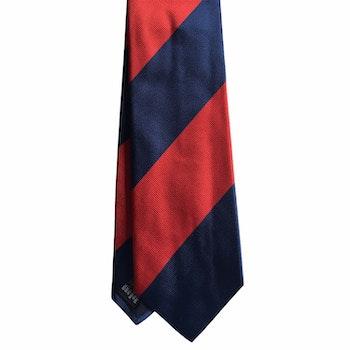 Blockstripe Silk Tie - Navy Blue/Red