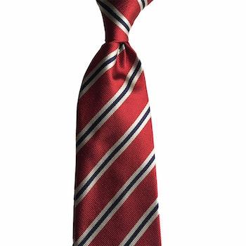 Regimental Silk Tie - Burgundy/White/Navy Blue