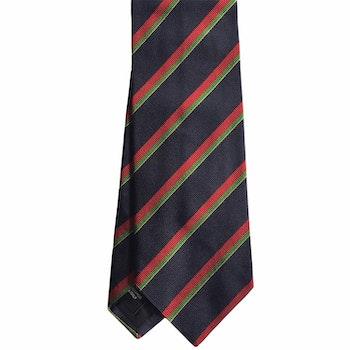 Regimental Rep Silk Tie - Navy Blue/Red/Green/Yellow
