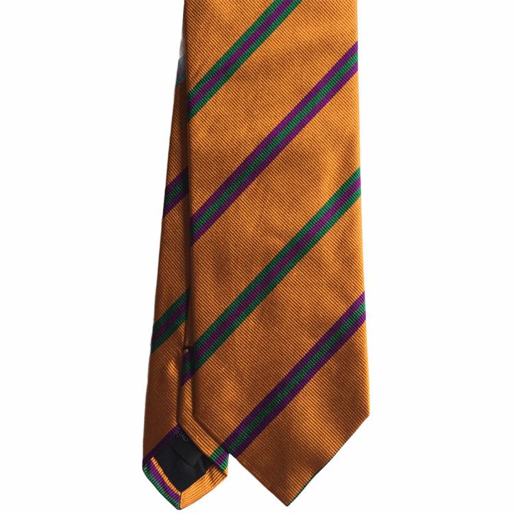 Regimental Rep Silk Tie - Orange/Green/Purple