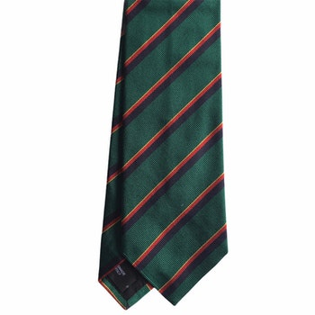 Regimental Rep Silk Tie - Green/Navy Blue/Red/Yellow