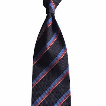 Regimental Rep Silk Tie - Navy Blue/Light Blue/Red/White