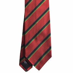Regimental Rep Silk Tie - Red/Navy Blue/Green/Yellow