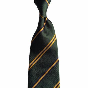 Regimental Rep Silk Tie - Green/Navy Blue/Yellow