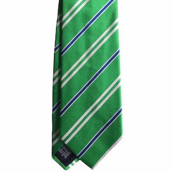 Regimental Rep Silk Tie - Mid Green/White/Light Blue