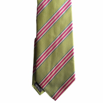 Regimental Rep Silk Tie - Light Green/Cerise/White/Light Blue