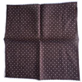 Polka Dot Linen Pocket Square - Brown/White (36x36)
