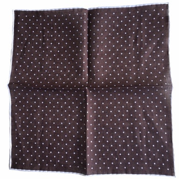 Polka Dot Linen Pocket Square - Brown/White (36x36)