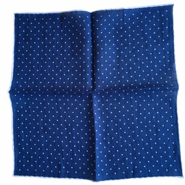 Polka Dot Linen Pocket Square - Navy Blue/White (36x36)