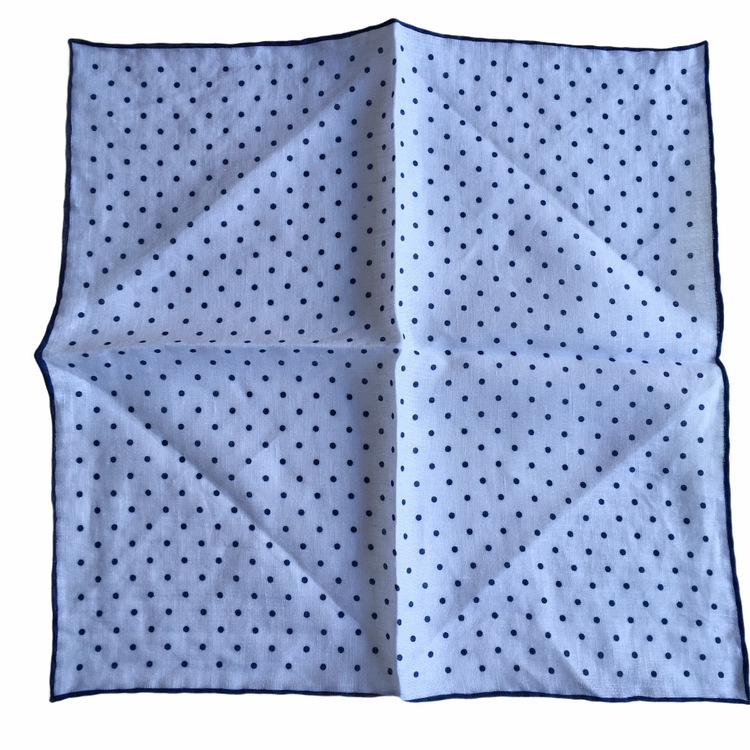 Polka Dot Linen Pocket Square - White/Navy Blue (36x36)