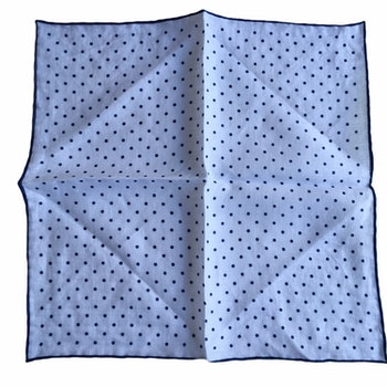 Polka Dot Linen Pocket Square - White/Navy Blue (36x36)